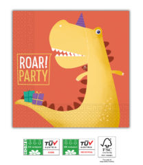 Dino Roar Compostable - Home & Industrial Compostable Three-ply Napkins 33x33 cm FSC - 91505