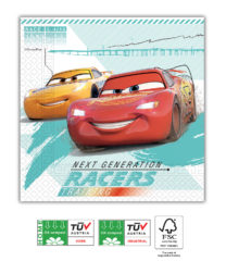 Cars High Speed - Home & Industrial Compostable Three-ply Paper Napkins 33x33 cm FSC - 91507