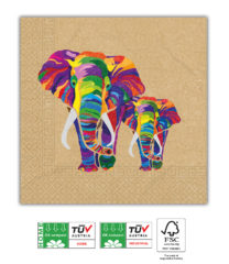 Elephant Compostable - Home & Industrial Compostable Three-Ply Paper Napkins 33x33 cm - 91509