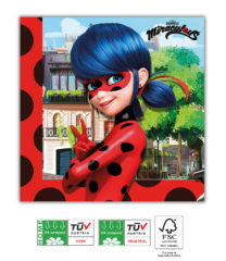 Miraculous Ladybug Compostable - Home & Industrial Compostable Three-Ply Napkins 33x33 cm FSC - 91670