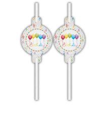 Happy Birthday Streamers - Medallion Paper Drinking Straws - 91837
