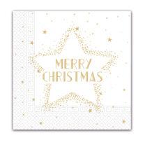 Seasonal Napkin Designs - Gold Merry Christmas Star Three-Ply Paper Napkins 33x33 cm. - 91861