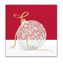 Seasonal Napkin Designs - Elegant Xmas Ball Three-Ply Paper Napkins 33x33 cm. - 91863