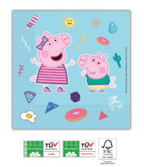 Peppa Pig Star Shine Compostable - Home & Industrial CompostableThree-Ply Napkins 33x33 cm FSC - 91878