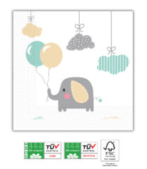 Elephant Baby Compostable - Home & Industrial Compostable Three-Ply Napkins 33x33 cm  - 91907