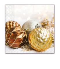 Seasonal Napkin Designs - Christmas Glitter Balls Three-Ply Paper Napkins 33x33 cm. - 92023