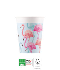 Tropical Flamingo Compostable - Industrial Compostable Paper Cups 200 ml FSC - 92129
