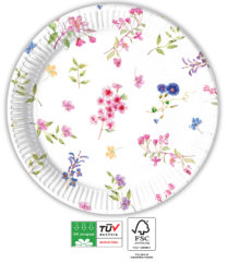 Blooming Flowers Compostable - Industrial Compostable Paper Plates 23 cm FSC - 92132