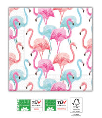 Tropical Flamingo Compostable - Home & Industrial Compostable Three-Ply Napkins 33x33 cm FSC - 92206