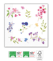 Blooming Flowers Compostable - Home & Industrial Compostable Three-Ply Napkins 33x33 cm FSC - 92208