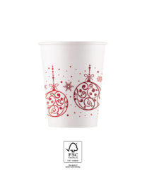 Xmas Red Balls - Paper Cups 200 ml FSC - 92212