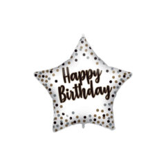 Shaped Foil Balloons - White-Gold Happy Birthday Foil Balloon 46 cm. - 92417