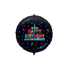 Shaped Foil Balloons - Happy Birthday Black Confetti Foil Balloon 46 cm. - 92425