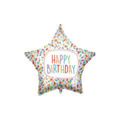 Shaped Foil Balloons - Happy Birthday Bright Star Foil Balloon 46 cm. - 92426
