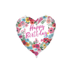 Shaped Foil Balloons - Happy Birthday Floral Foil Balloon 46 cm. - 92428