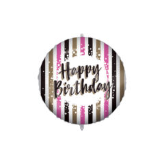 Shaped Foil Balloons - Happy Birthday Pink Gold Stripes Foil Balloon 46 cm. - 92430