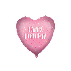Shaped Foil Balloons - Happy Birthday Pink Heart Foil Balloon 46 cm. - 92431