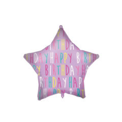 Shaped Foil Balloons - Happy Birthday Purple Star Foil Balloon 46 cm. - 92432