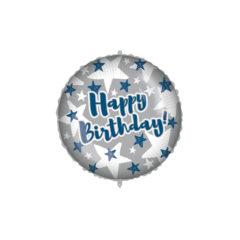 Shaped Foil Balloons - Happy Birthday Blue Silver Stars Foil Balloon 46 cm. - 92434