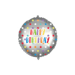 Shaped Foil Balloons - Happy Birthday Colorful Stars Foil Balloon 46 cm. - 92435