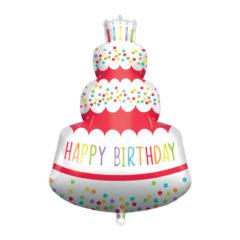 Shaped Foil Balloons - Happy Birthday Cake Foil Balloon 94 cm. - 92446