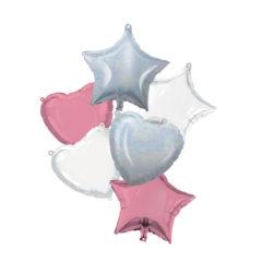 Shaped Foil Balloons - Pink White Iridescent Bouquet Foil Balloons 46 cm. - 92449