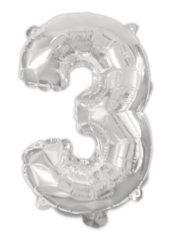 Numeral Foil Balloons - Silver Foil Balloon 94 cm. No. 3. - 92469