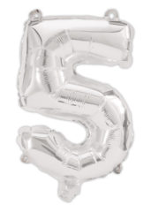 Numeral Foil Balloons - Silver Foil Balloon 94 cm. No. 5. - 92471
