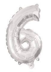 Numeral Foil Balloons - Silver Foil Balloon 94 cm. No. 6. - 92472