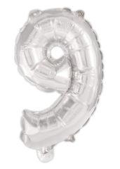 Numeral Foil Balloons - Silver Foil Balloon 94 cm. No. 9. - 92475