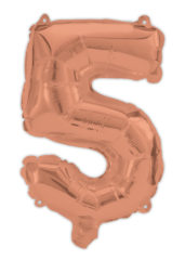 Numeral Foil Balloons - Rose Gold Foil Balloon 94 cm. No. 5. - 92481