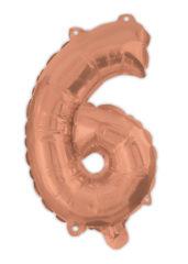 Numeral Foil Balloons - Rose Gold Foil Balloon 94 cm. No. 6. - 92482