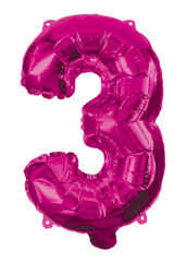 Numeral Foil Balloons - Hot Pink Foil Balloon 95 cm. No 3. - 92489