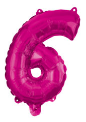 Numeral Foil Balloons - Hot Pink Foil Balloon 95 cm. No 6. - 92492