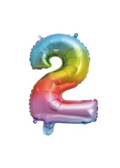 Numeral Foil Balloons - Rainbow Foil Balloon 35 cm. No. 2. - 92725