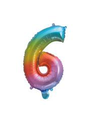 Numeral Foil Balloons - Rainbow Foil Balloon 35 cm. No. 6. - 92729