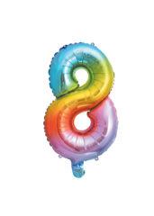 Numeral Foil Balloons - Rainbow Foil Balloon 35 cm. No. 8. - 92731