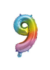 Numeral Foil Balloons - Rainbow Foil Balloon 35 cm. No. 9. - 92732