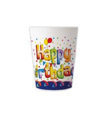 Multicolor Happy Birthday - Reusable Cups 230 ml. - 92875