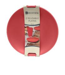 Solid Color Reusable - Red Reusable Plates 20 cm. - 92894