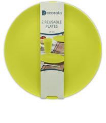 Solid Color Reusable - Lime Green Reusable Plates 25 cm. - 92987