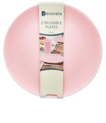 Solid Color Reusable - Pink Reusable Plates 25 cm. - 92990