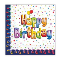Multicolor Happy Birthday - Three-Ply Paper Napkins 33x33 cm. - 93046