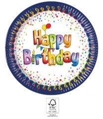Multicolor Happy Birthday - Paper Plates 23 cm FSC. - 93447