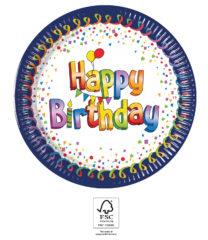 Multicolor Happy Birthday - Paper Plates 20 cm FSC. - 93493