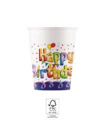 Multicolor Happy Birthday - Paper Cups 200 ml FSC. - 93502