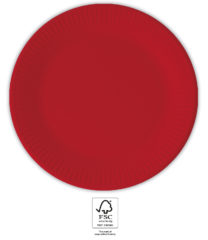 Solid Color Compostable - Red Paper Plates 23 cm. FSC. - 93523