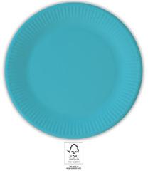 Solid Color Compostable - Turquoise Paper Plates 23 cm. FSC. - 93524