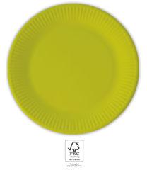 Solid Color Compostable - Light Green Paper Plates 23 cm. FSC. - 93525