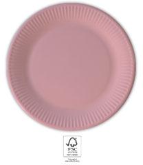 Solid Color Compostable - Pink Paper Plates 20 cm. FSC. - 93530